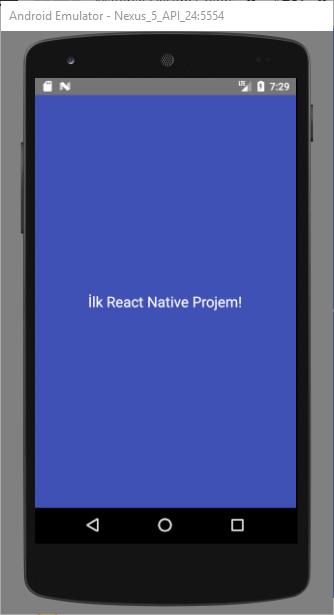 Kod değişikliği sonrası emülator ekranı