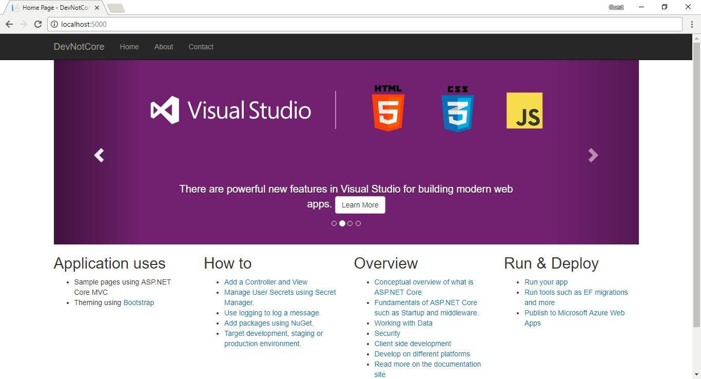 13 - .NET Core MVC uygulamasının yerel sunucuda başlatılmış hali
