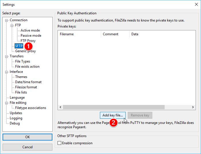 17 - FileZilla SSH private anahtarının eklenmesi
