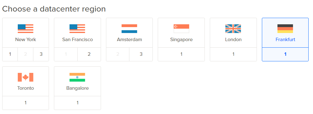4 - DataCenter bölgesinin seçilmesi