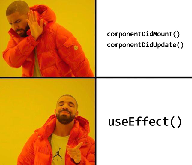 Hook'lar sayesinde componentDidMount() ve componentDidUpdate() yerine useEffect() fonksiyonu kullanılır.