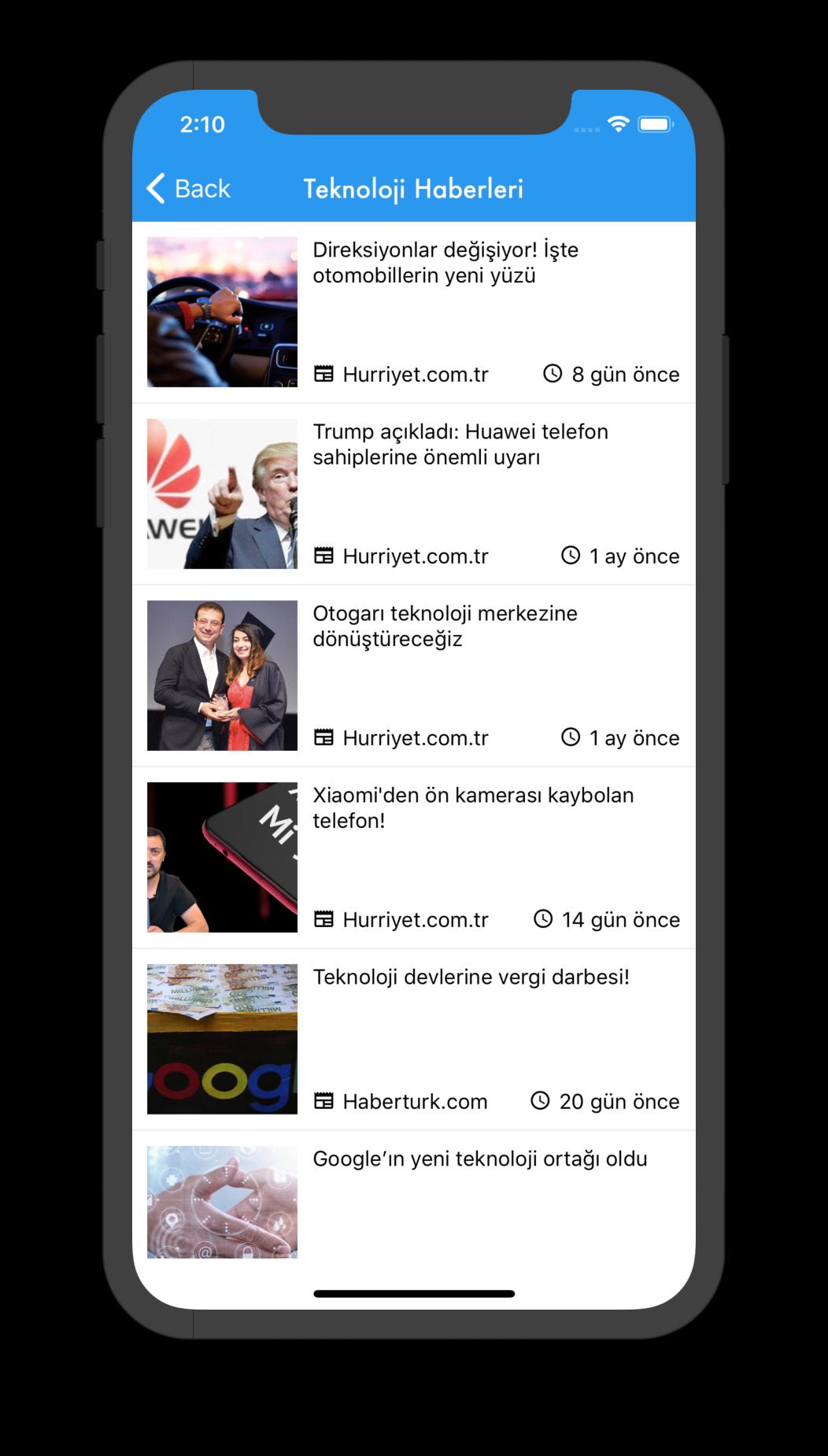 Headlines bileşeninin NavBar tasarımlı son hali