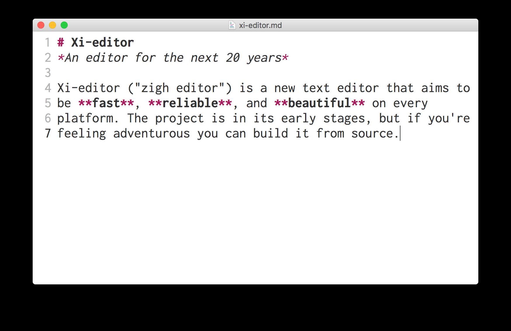 MacOS için Xi editörü Rust ile yazılmıştır