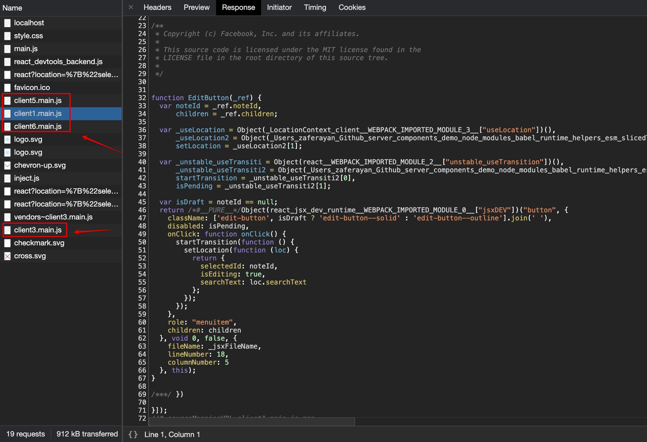 Code-splitting sonucu ayrı dosyalar halinde gelen bileşenler