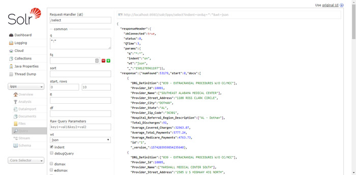 solr admin query page