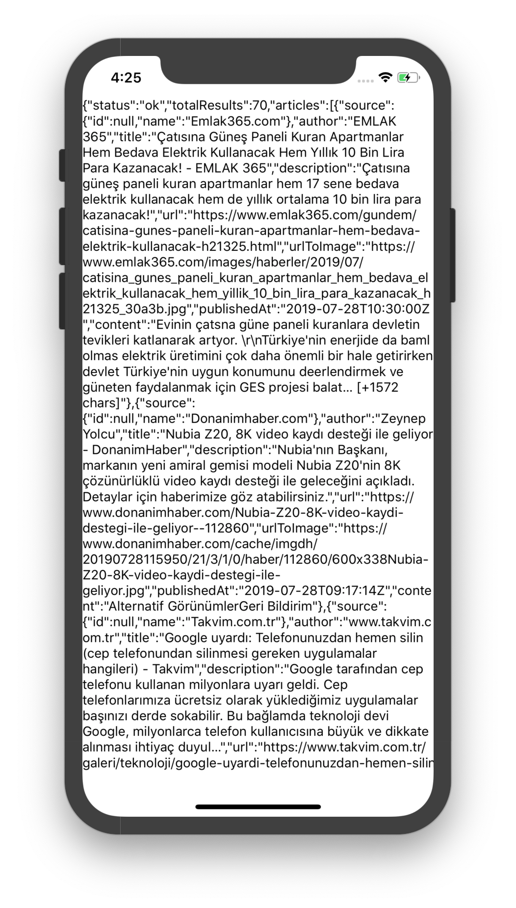 Ağ isteği üzerinden alınan haberlerin  JSON içeriğinin ekrana basılması