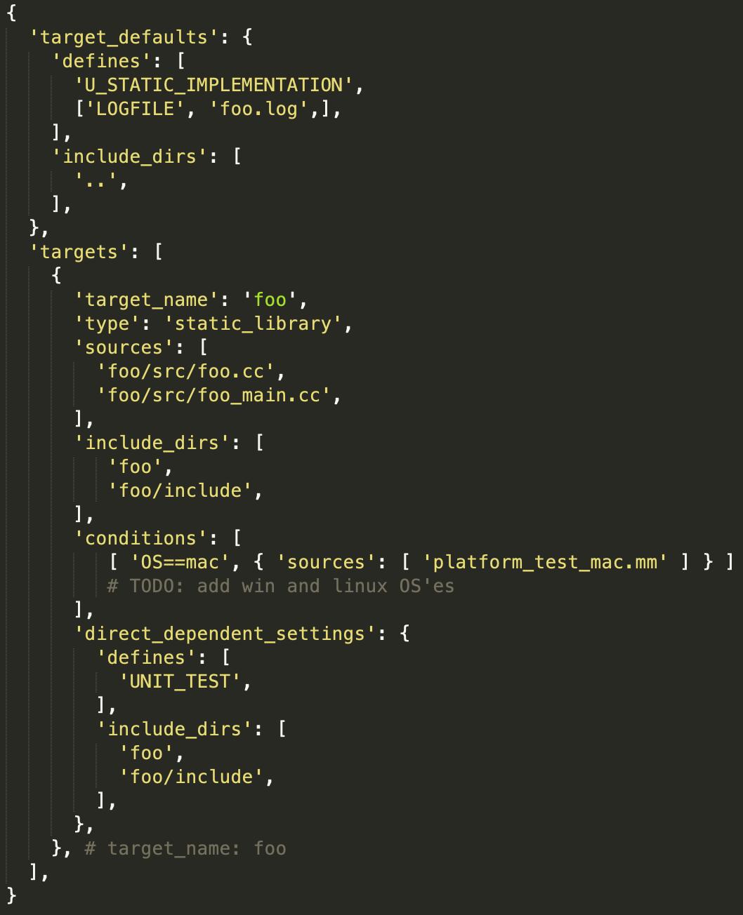 Örnek bir GYP yapılandırma dosyası - Kaynak: https://gyp.gsrc.io/docs/LanguageSpecification.md#Example