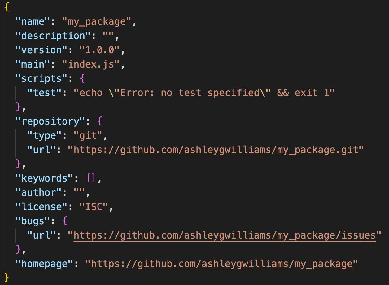 Örnek bir package.json dosyası. - Kaynak: https://docs.npmjs.com/creating-a-package-json-file